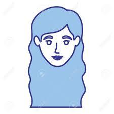 ウェーブのかかった長い髪ベクトル イラスト女性笑顔の青いシルエットの