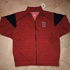 Majestic Jacket Size Chart Details About Boston Red Sox Full Zip Fashion Jacket 1xl Red Two Sided Logos Majestic Mlb