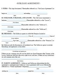 Sublease Agreement Samples Sublease Agreement Template Callatishigh Info