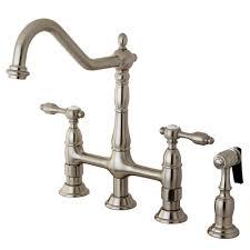 kingston brass victorian 2 handle bridge kitchen faucet with side sprayer in satin nickel