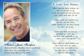 Funeral Remembrance Cards Funeral Cards Letter From Heaven Funeral Cards Letter