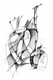 abstract drawing abstract drawing black ink with unusual spiral structure stock