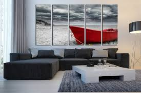 5 piece huge canvas art grey ocean multi panel art red boat wall art on huge wall art pieces with 5 piece huge canvas art black and white large pictures red boat