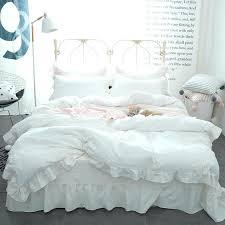 ruffled duvet princess style lace ruffled duvet cover bed sheet set washed cotton white wamsutta vintage