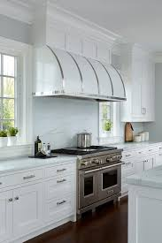 stainless steel vent hood. Stainless Steel Straps On White Barrel Kitchen Vent Hood F