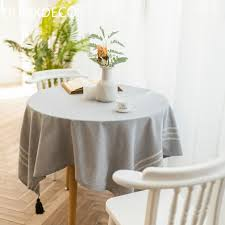 dunxdeco tablecloth round table cover fabric modern simple fresh gray white stripe coffee party mesa decorative mat tablecloths