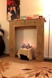picture of cardboard faux fireplace