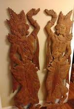 dancers godess angel sculpture hand carved thai teak wood wall decor art temple on teak wall art australia with thai wood carving ebay