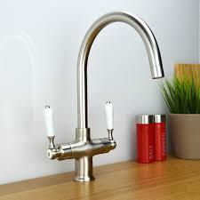 White Monobloc Kitchen Taps Enki Kitchen Sink Mixer Tap Black Traditional White Brushed Steel
