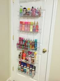 Use an Over the Door Spice Rack organizer in the bedroom to organize lotions  and perfumes