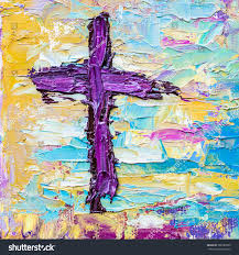 image of the colorful cross in oil painting on canvas thick brush strokes palette