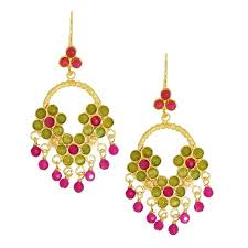 hot pink chandelier earrings lime and hot pink agate beaded chandelier earrings chandelier shades