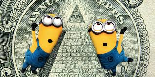 minions dancing around eye in the pyramid