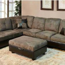 f102a gray microfiber faux leather sectional with storage ottoman