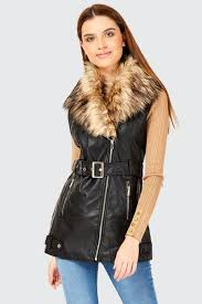 faux leather faux fur collar biker jacket