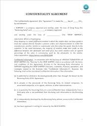 Confidentiality Agreement Drop Shipping Retailer Templates At