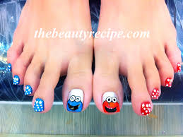 Elmo and Cookie Monster Nail Art Toes - Award Winning Beauty ...
