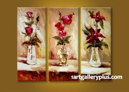>3 piece multi panel art floral wall decor red flowers canvas  3 piece photo canvas home decor artwork floral multi panel canvas oil paintings