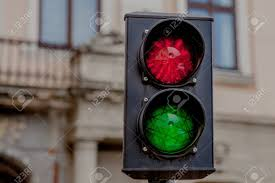 Traffic Light Pole Traffic Light Pole With Red And Green Sign Near And Blur Building