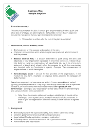 Business Plan Example Business Proposal Templates Examples Business Plan sample template 1