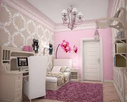 Pink Wallpaper For Bedroom Bedroom Girls Bedroom Cool Teenage Room With Pink Bed Anded With