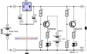 how to build solar cell voltage regulator circuit diagram bc557b pnp and bc547b npn are indicated any small signal equivalents out of the junk box will probably do the values of voltage dividers r1 r6 and