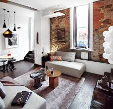 the brick condo furniture. Creative Living Room Apartment Set With Wooden Floor Feat Brick Apartments Interior And Oval Wood Coffee The Condo Furniture C