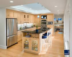 Kitchen Ceilings Maple Cabinets With A Honey Finish And Oak Flooring Add Warmth To