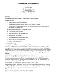 Free Printable Audit Manager Resume Sample Displaying Simple