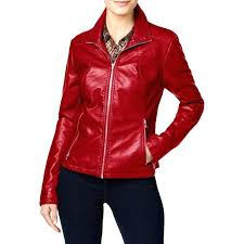 sams club kenneth cole reaction jackets motorcycle jacket faux leather mixed media womens