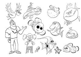 Finding Nemo Characters Coloring Pages Disney Nemo Coloring