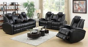 living room set. Recliners : Black Leather Recliner Sofa Set White Shag Rug Glass Living Room