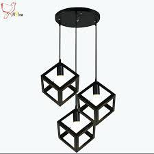 cube pendant light loft lamp vintage pendant light black white 3 head metal cube lampshade hang