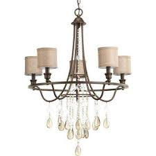 flourish collection 5 light cognac chandelier with linen shade