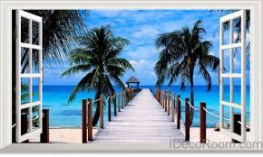Palm Tree Beach Tropical Ocean Pier 3D ...