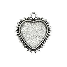 silver heart pendant heart charm cast zinc antique silver finish 31x27mm vintage supplies heart heart mount jewelry findings jewelry making