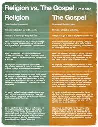 Bible Disciples Religion Vs The Gospel Chart By Tim Keller