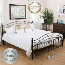 Details about Metal Bed Frame KING Farmhouse Iron Vintage Deluxe Rustic Modern Country Black
