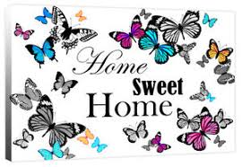 Small Picture Home Sweet Home Butterfly Family Quote Words Canvas Wall Art