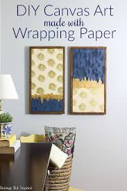 upgrade bare walls with diy canvas art that you can make with wrapping paper and paint