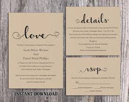 wedding invite template download diy burlap wedding invitation template set editable word file