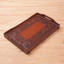hand tooled leather cedar tray serveware from peru breakfast in bed