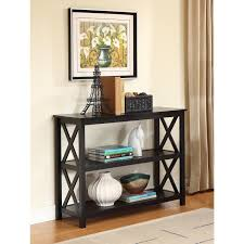 black console table with storage. 3-Tier Black Sofa Table Bookcase Living Room Shelves Console With Storage