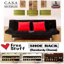 living room 3 seater 2 in 1 foldable sofa bed with free shoe rack