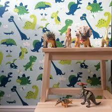Bora Behang Dinosaurus Blauw De Oude Speelkamer