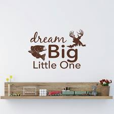 dream big little one wall decal rustic nursery decor fish and deer wall art stickers on dream big little one wall art with dream big little one wall decal rustic nursery decor fish and deer