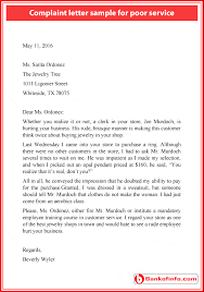 complaint letter sample for poor service at store bank of  complaint letter sample for poor service at store