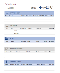 Word Travel Itinerary Template Free 6 Sample Trip Itinerary Templates In Pdf Word