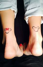 Simple Small Outline Mickey Mouse Matching Couple Ankle Back Of Leg
