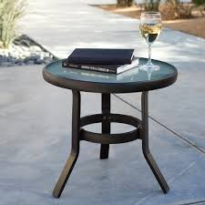 metal patio side table glass top